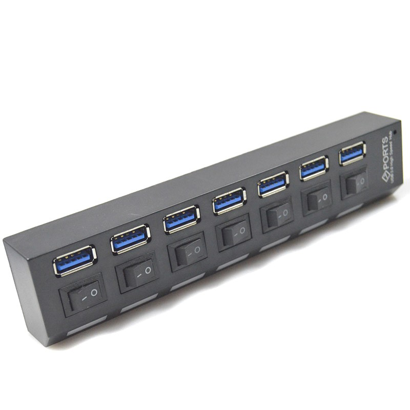 NEW USB 3.0 Super Speed 5Gbps 7 Ports USB 3.0 Charger Splitter With On/Off Switch Platooninsert For Computer/Mobile Phone