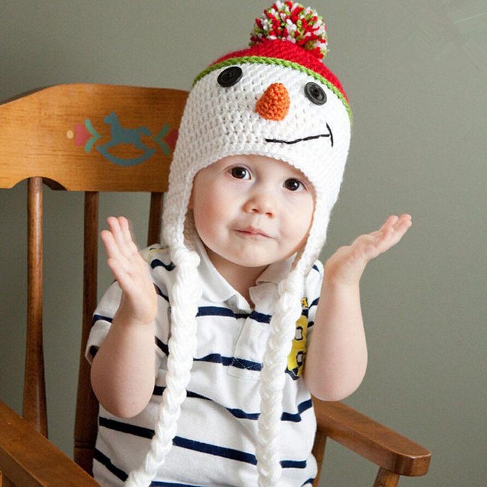 Adorable Snowman Baby Hat Handmade Children Ear Flap Beanies Cap Toddler Crochet Hats baby photo props hat Christmas BH0876