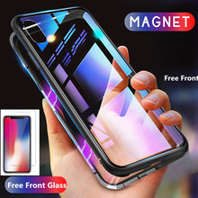 Magnetic Adsorption Case for iPhone XR XS MAX X 8 Plus 7 6S + Metal Tempered Glass Back Cover for iPhone 7 6 6S Plus Case metal magnetic case for iphone 11 pro xr xs max x 8 plus 7 tempered glass back cover for fundas iphone 7 8 6 6s plus case bumper