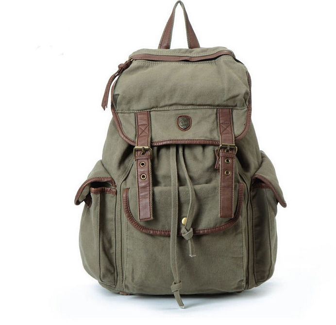 Retro Women Canvas Leather Backpack Rucksack Schoolbag Casual Bookbag