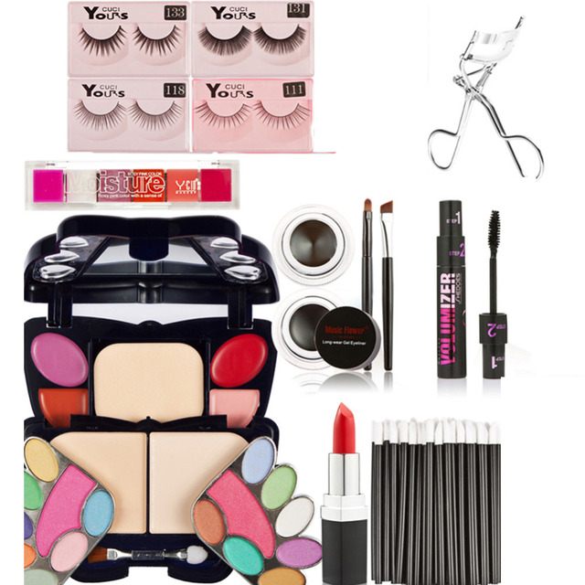 Pro Full Makeup Set Kits Eyeshadow Palette Batom Lip Brushes/Gloss Palette Fake eyelashes Concealer Stick Eyeliner Gel
