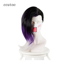 ccutoo 40cm Black Purple Whtie Ombre Mix Curly Game Overwatch OW Sombra Synthetic Hair Cosplay Costume Wigs