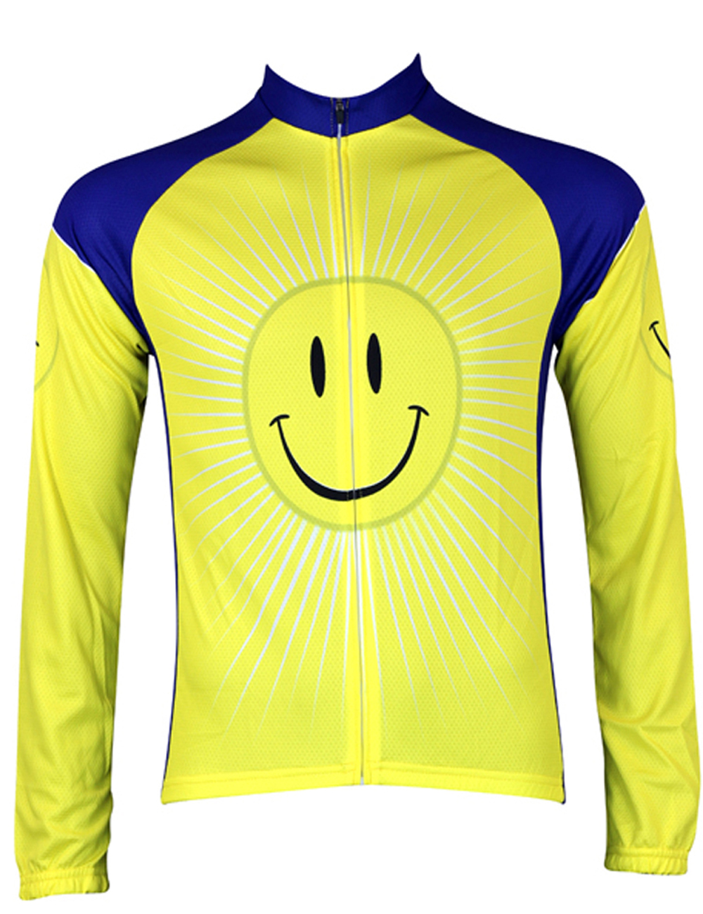 New Alien SportsWear Smile Pattern Mens Bike Clothing Yellow Bike Clothes Polyester Long Sleeve cycling jersey Size 2XS To 6XL