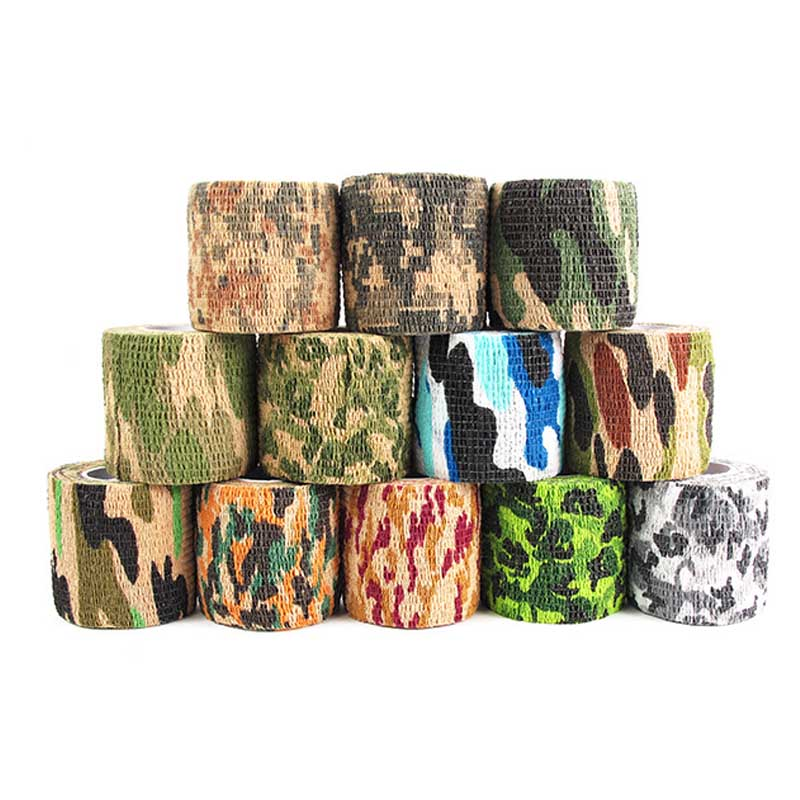 Elastic Self Adhesive Camouflage Tape Military Stealth Airsoft Rifle Shooting Stretch Outdoor Sports Camping Hunting Tools