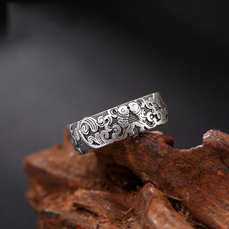 Guaranteed 990 Pure Silver Rings Carved Flowers And Fish Rings For Women And Men Fine Jewelry Anello Donna