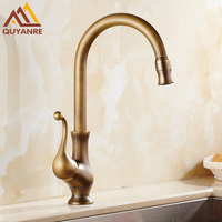 Free Shipping Antique Brass Swivel Kitchen Faucet With Hot And Cold Water Mixer Faucet