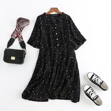 Plus size 4XL 2018 new summer short sleeve star print black V-Neck chiffon elegant ladies dresses pleated vestidos female
