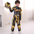 Kids Boys Cosplay Movie Superhero Transformers Costumes Optimus Prime Bumblebee Full Body Suits Carniva Halloween Jumpsuit +mask