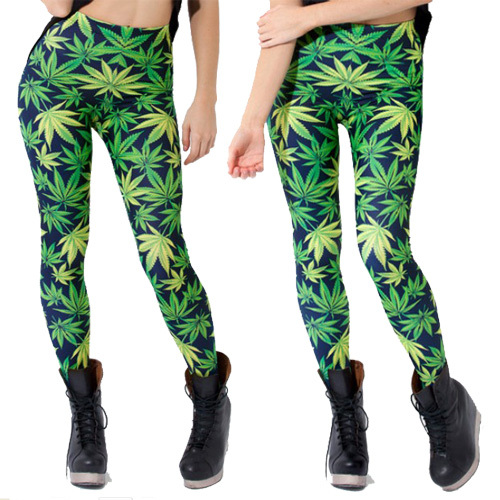 Lowest price New 2015 Novelty women   leggings   WOAH DUDE 2.0 HWMF   LEGGINGS   leaf pattern green pants