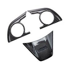 3 pcs Interior De Fibra De Carbono Volante Botão Quadro Capa para Toyota Camry 2018 Botão do Volante Tampa Quadro