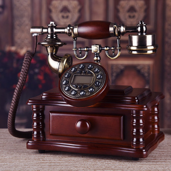 European technology gift bronze fish retro Wood carving telephone antique Decoration home art rustic phone backlit household