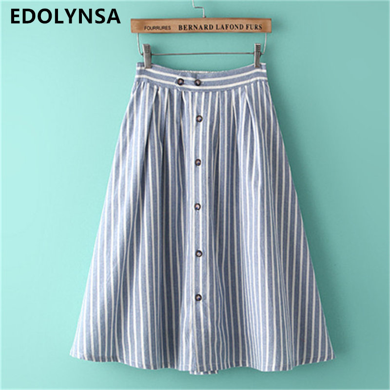 Fashion School Skirt Striped Long Skirt With Button Women