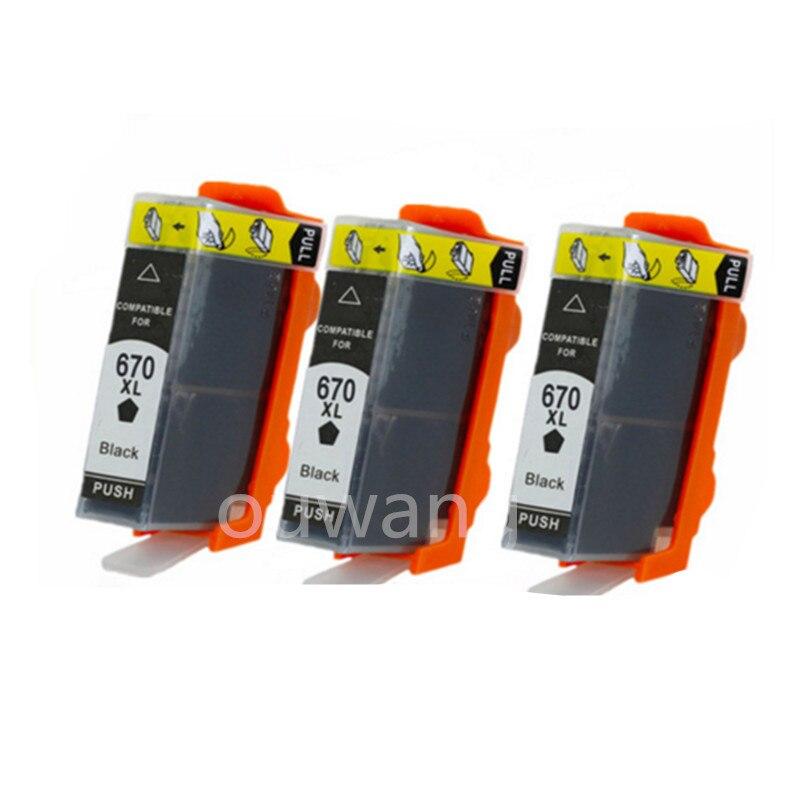 3 Black Compatible For 670 high-capacity ink Cartridge For 670XL for Deskjet 3525 4615 4620 4625 5525 6526 inkjet printer