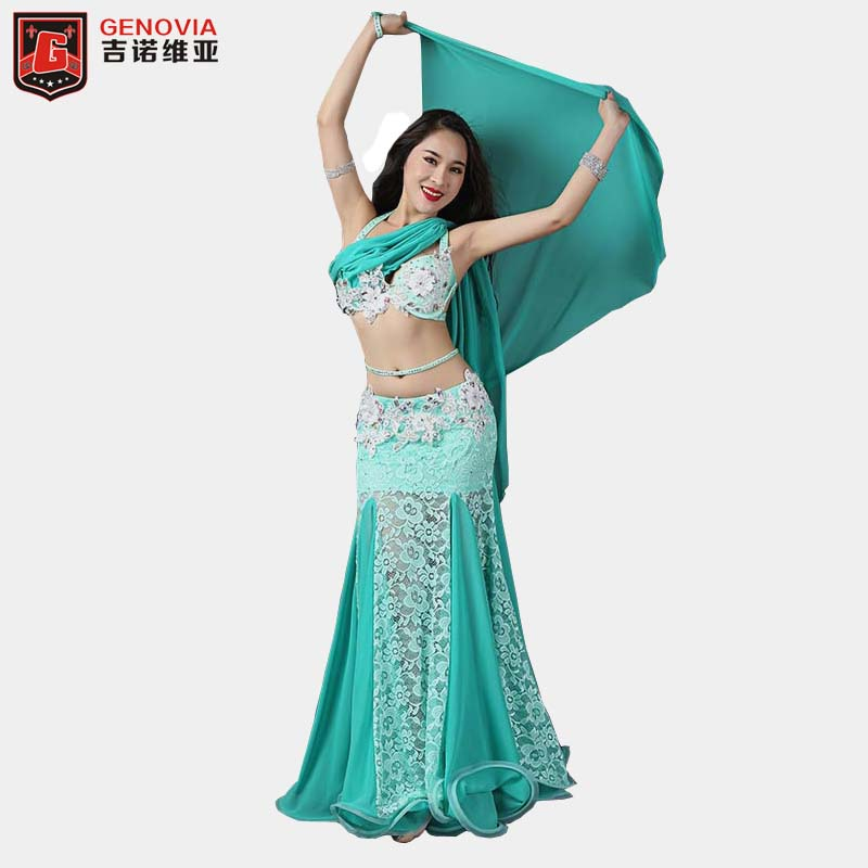 Professional Belly Dancing Costumes Set Performance Diamond 2PCS Bra Skirt Luxury Handmade Women Belly Dance Colour