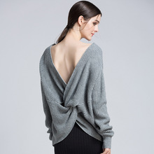 Sexy Deep V Neck Open Back Drop Shoulder Knitted Sweater for Women Cute Ladies Backless Wrap Pullover Jumper Plus Size S-XL