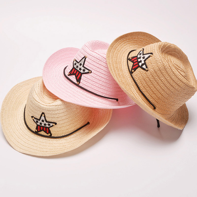 2018 New Fashion Summer Brand Childrens Sun Hats Girl Cap Beach Straw Star Printed Top Kid Big Brim Shade Sunscreen Girls