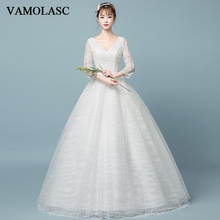 VAMOLASC Deep V Neck Lace Ball Gown Wedding Dresses Illusion Three Quarter Sleeve Backless Bridal Gowns