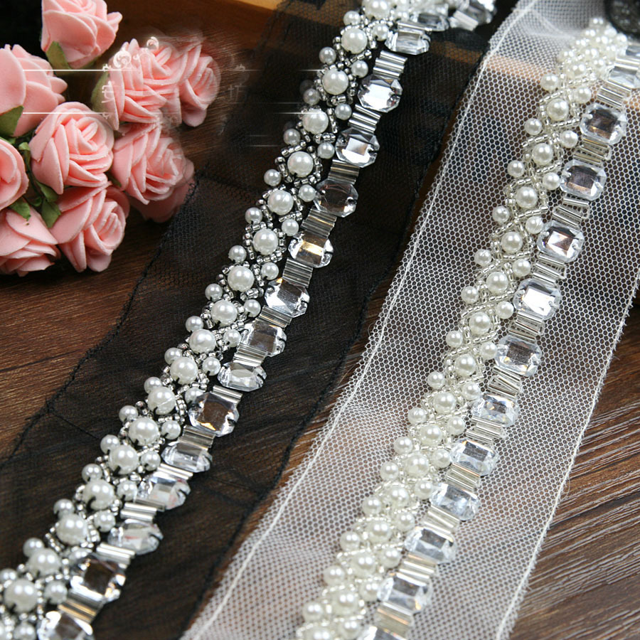 Free Shipp 5yards/lot Craft Braided Beaded Pearls Rhinestones Trim Embroidered Lace Fabric Trim Costume Applique Sewing On Trim