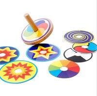 תינוק מעץ חדש מגוון צעצועי ג ' יירו צבע pape סביבון תינוק צעצועים חינוכיים תינוק מתנות