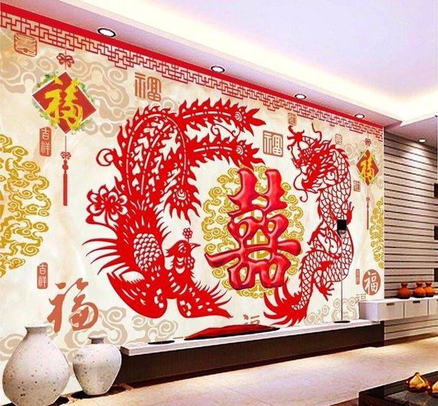 Beibehang Home decoration wallpaper murals Chinese wind dragon and