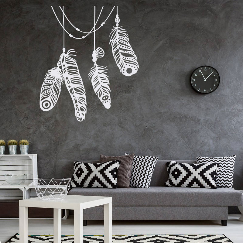 US $6.07 25% OFF Feather Vinyl Wall Decals Boho Wall Decor for Home  Bohemian Wall Decal Bedroom Feather Design Home Decoration DIY LR37-in Wall  ...
