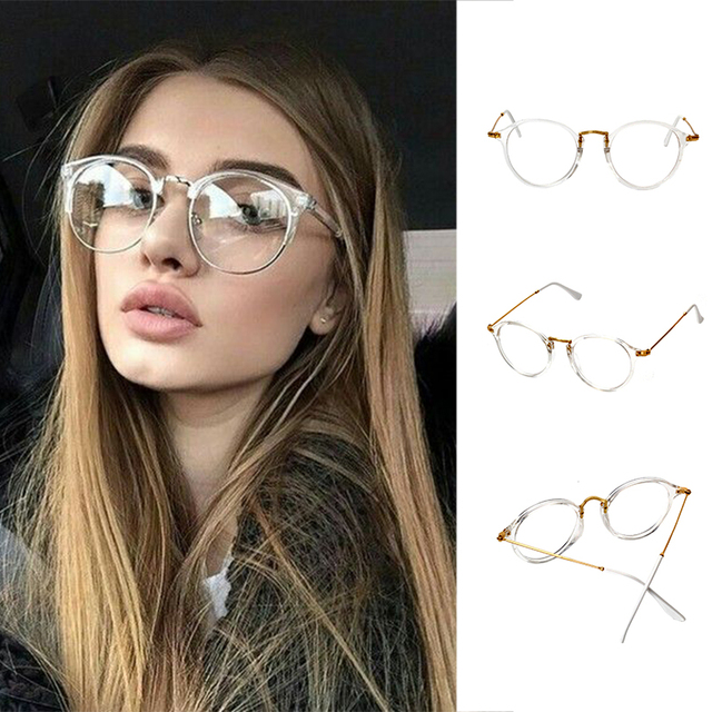 Super Clear Transparent Crystal Frame Clear Lens glasses Retro Pantos  Glasses pink frame sunglasses black frame 9ca0dd910