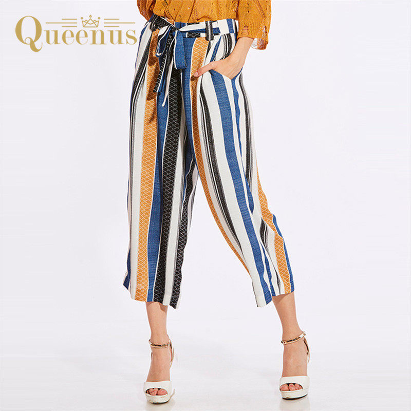 woman   pants   causal sashes striped bowknot trousers   wide     leg     pants   female fashion summer Autumn female trousers palazzo   pants