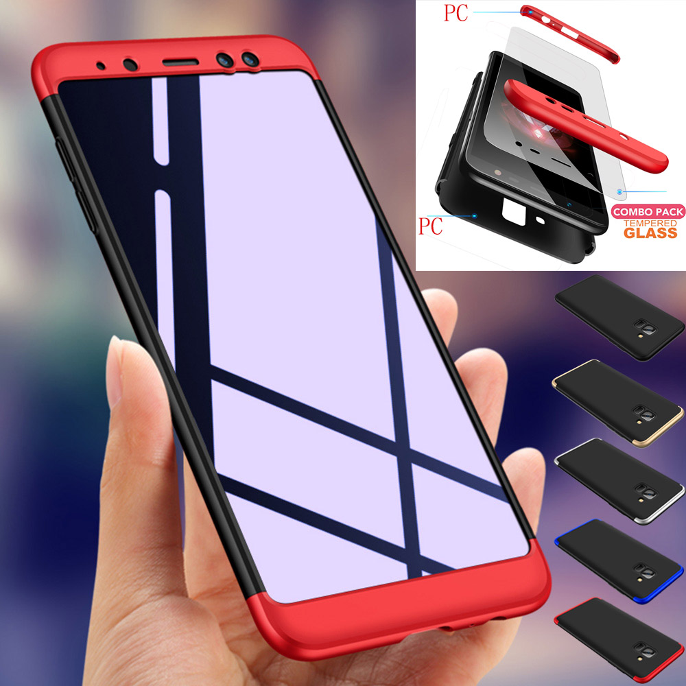 3 In 1 Full Coverage Protective Case + Tempered Glass Films Cover For Samsung Galaxy A8 (2018) A5 2018 A530F/A8 Plus 2018 A730F