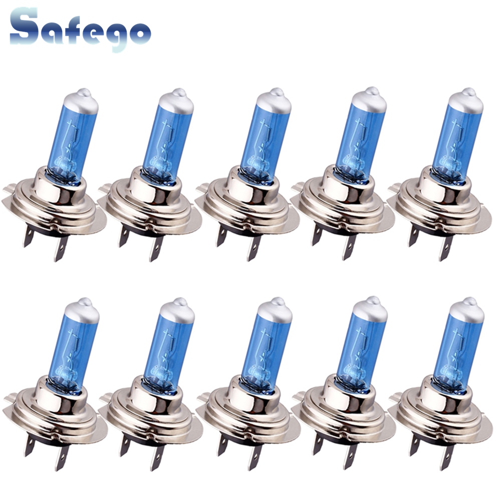 Safego 10pcs 100W H7 Halogen Bulbs PX26D  Xenon Headlight Fog Lights Auto Car Light For Car Motorcycle Super Bright White DC 12V