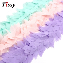 1Yard Lace Flower Chiffon Flowers Leaves Trim Lace Fabric Ribbon DIY Sewing Accessories&Home Wedding Party Decoration