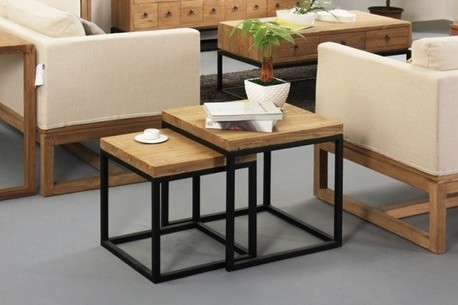 American Village Coffee Iron minimalist wood coffee table high-end sofa a few casual coffee table side to do the old retro