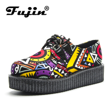 Fujin Brand Creepers Women Casual Shoes Round Toe Flat Platform Summer Fashion Lace-Up Suede