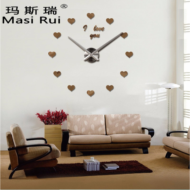 Aliexpress  Buy 2017 Vintage Wall Clock 3d Acrylic Large Wall - living room clock