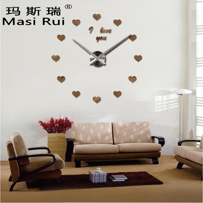2017 Vintage Wanduhr 3d Acryl Grosse Wanduhren Beobachten Reloj De Pared Wohnzimmer Modernes Design Spiegel Aufkleber