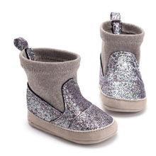 Toddler Baby Boy Girl Winter Warm Crib Shoe Slip-on Mocassins Sequin Shoes 0-18M(China)
