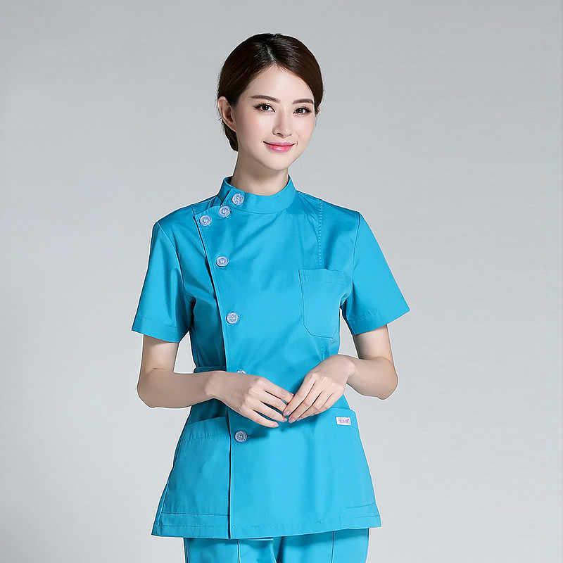 2018 ใหม่คุณภาพสูงชุดพยาบาลชุดทันตกรรมโรงพยาบาลแยกแขนสั้นฤดูร้อนทันตกรรมทำงานเสื้อผ้าเสื้อ + กางเกงชุด