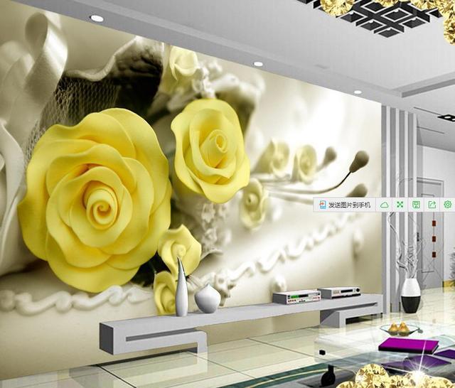 Dekoration 3d badezimmer tapete Gelb Rose schöne mode blumen tapeten ...