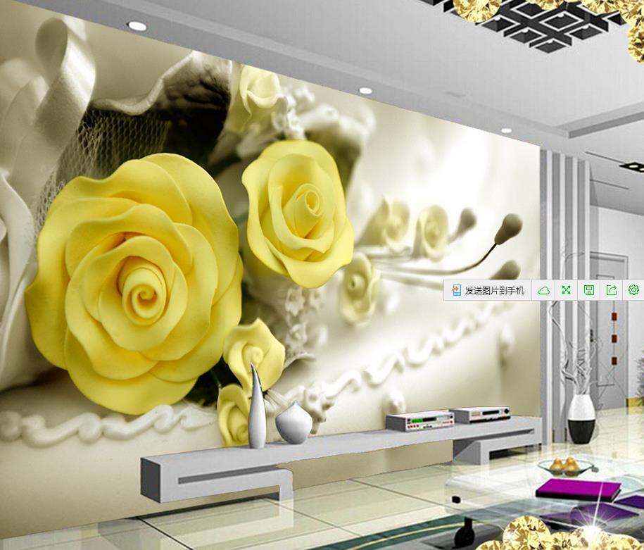 Gelbe Rose Tapete-kaufen Billiggelbe Rose Tapete Partien Aus China ... Tapeten Wohnzimmer Gelb