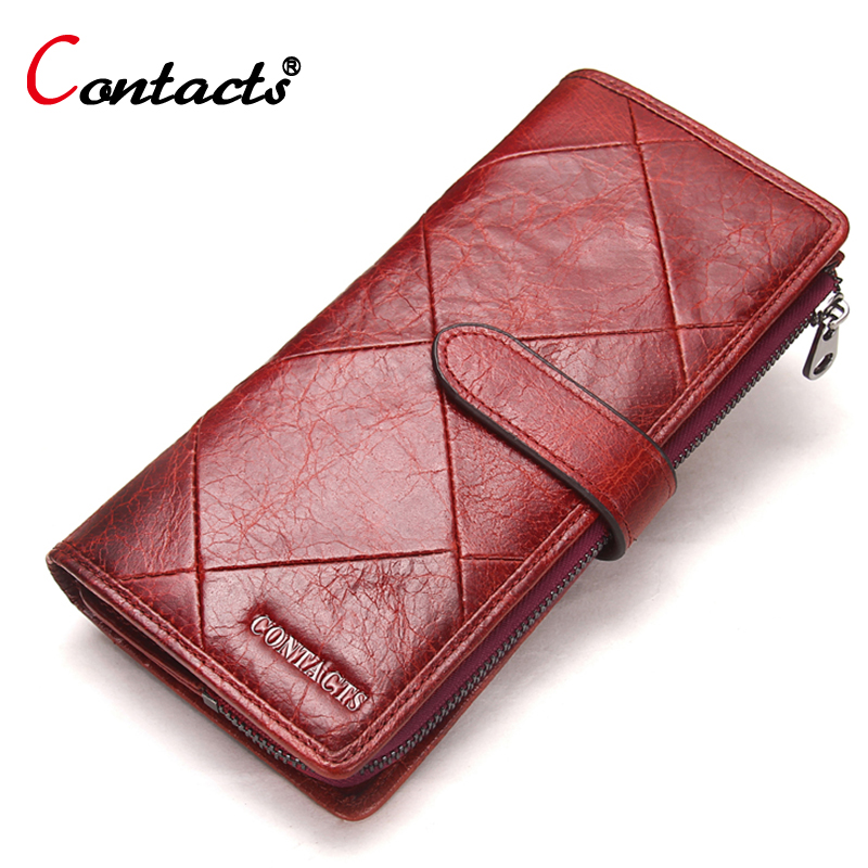 купить CONTACT'S Genuine Leather Men Wallet Women wallet Luxury Brand Purse Female Card Holder long Clutch bag coin Purse Money Bag Red недорого