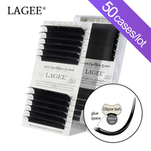LAGEE 50 케이스 플랫 타원형 속눈썹 연장 매트 블랙 스플릿 팁 가짜 속눈썹 자연광 NAGARAKU Line
