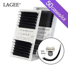Lagee 50 Gevallen Platte Ellips Wimpers Extensions Matte Black Split Tips Valse Wimpers Natuurlijke Licht Nagaraku Lijn