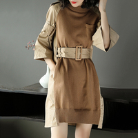 TWOTWINSYLE Autumn New Fashion Handsome Patchwork Women Dress Winter High Quality Flare Sleeve Collect Waist Casual