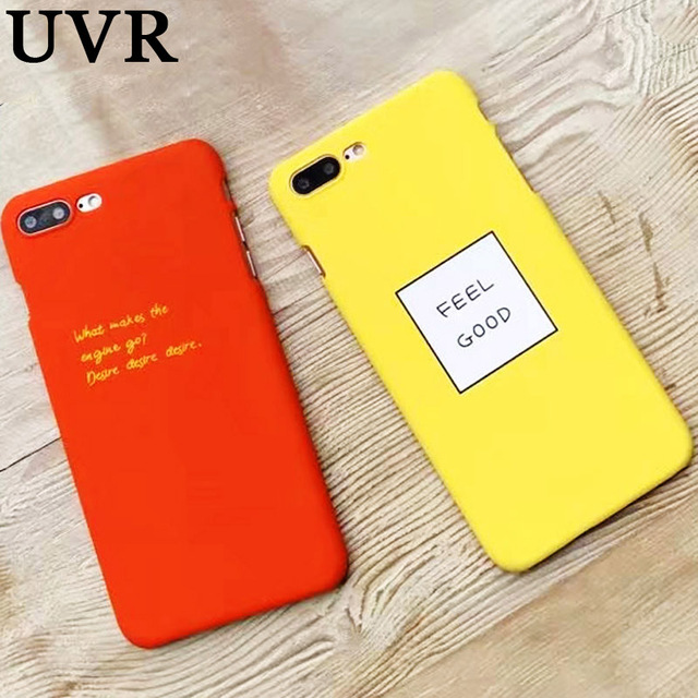 low priced 47473 6e325 US $2.48 |UVR Orange Lemon Yellow Feel Good Letter Case Cover Coque for  iPhone 5 5S 6 6S Plus 7 8 X Hard Ultra Thin Matte Phone Bag Cover-in ...