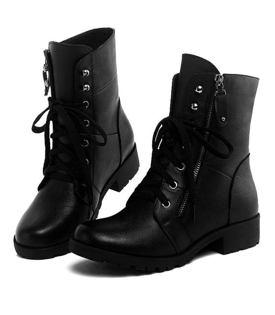 a97aa1afa Hot sale Winter round toe ankle boots Leather Women Skinny legs motorcycle  Boots lace-up Plus thick velvet female Snow boots