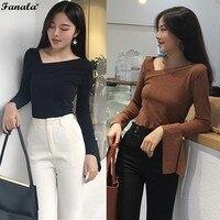 FANALA Women Skew Collar T Shirt Sexy Lace Up Long Sleeve Loose Shirt Women Spring Imitation