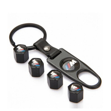 Automobile Mpower Logo Tire Valve Cap With Leather Key Ring