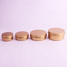 20 unids/lote 50ml,60ml,100ml,150ml oro aluminio crema tarros latas Metal cosmético embalaje de bote cosmético contenedores lápiz labial Pot