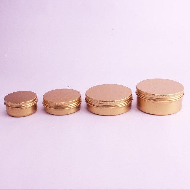 Bocaux pour crème en aluminium or, Pot demballage cosmétique en métal pour rouge à lèvres, de 50ml,60ml,100ml,150ml, lot de 20 pièces