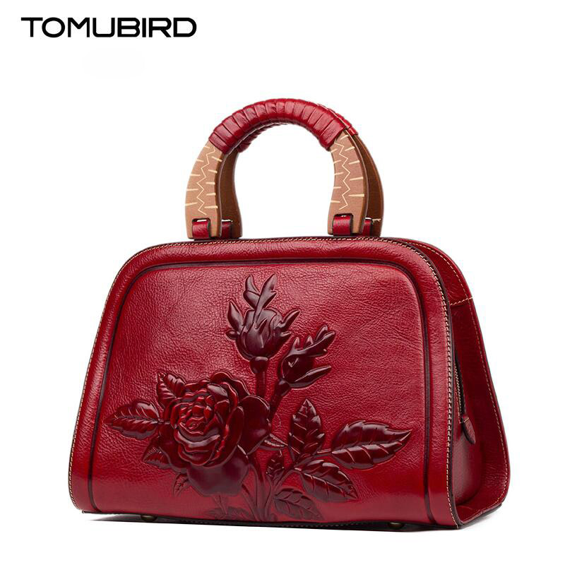 TOMUBIRD new Superior cowhide leather Luxury Rose embossed famous brand Tote bag fashion women genuine leather handbags tomubird new superior cowhide leather designer rose embossed famous brand women bag fashion tote women genuine leather bag