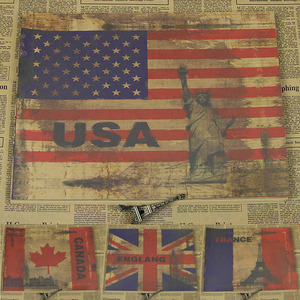 France Canada United Kingdom Buildings& Flag Retro Kraft Paper Landscape Poster Modern Decorative Paintings/walla sticker/